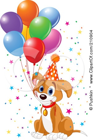 Royalty-Free (RF) Clipart Illustration of a Cute Beagle Puppy Dog Holding Balloon