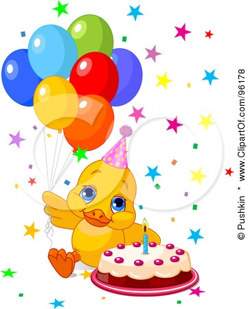 Royalty-Free (RF) Clipart Illustration of a Cute Birthday Duck With Balloons,