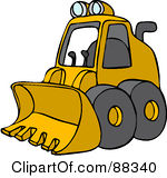 Royalty Free RF Clipart Illustration Of A Parked Yellow Mini Loader