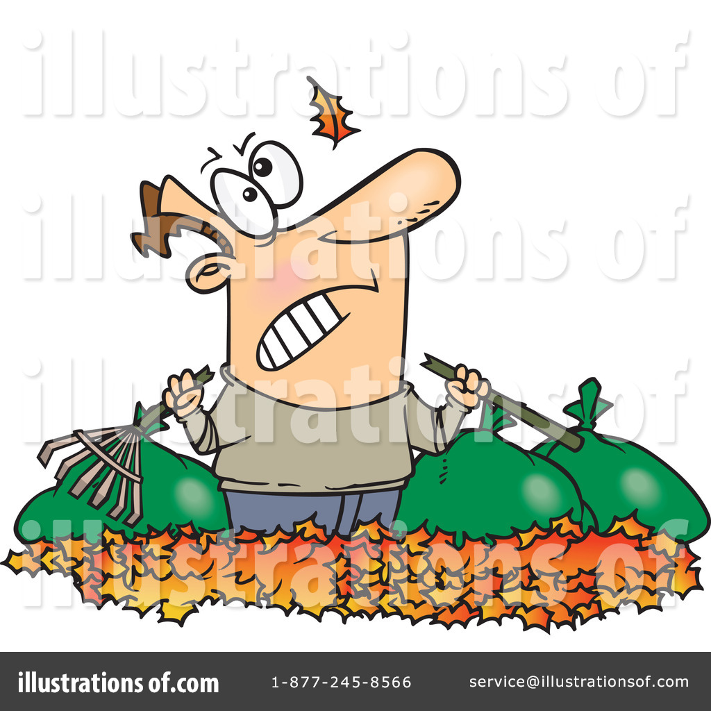 Royalty-Free (RF) Raking Leaves Clipart Illustration by Ron Leishman - Stock Sample
