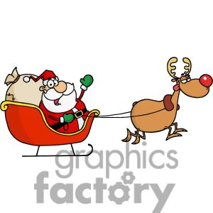 Rudolph And Sleigh Clipart