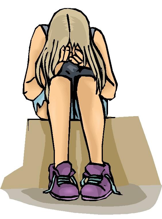 sad teenage girl clipart