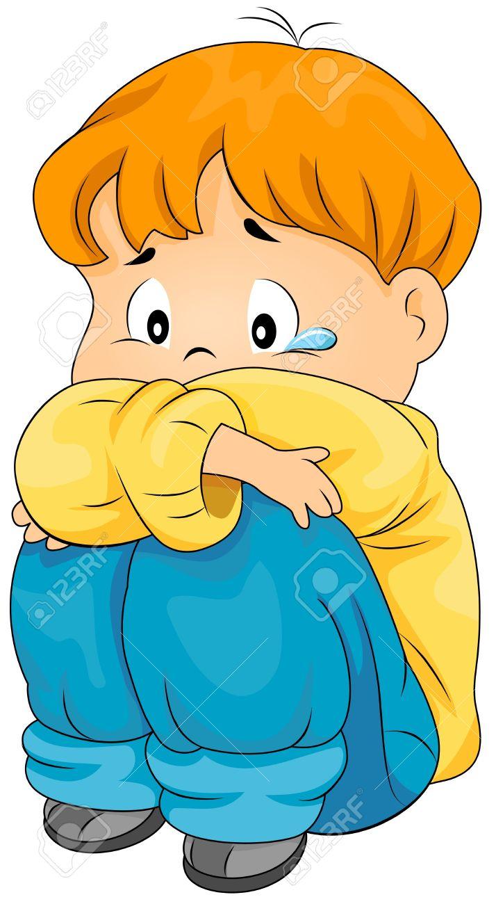 Sad Boy Clipart. Lonely Boy Stock Photo - .