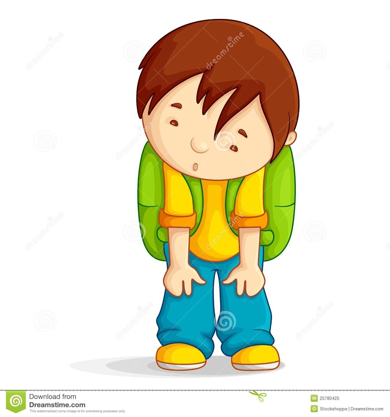 Sad Child Clipart Depressed Boy With School Bag