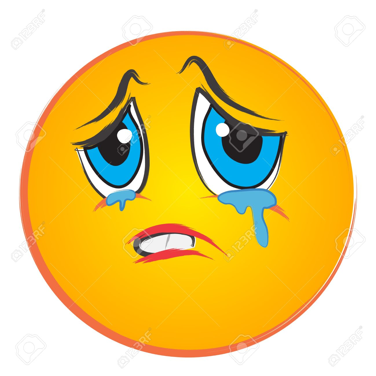Sad Face With Tears Clipart #1