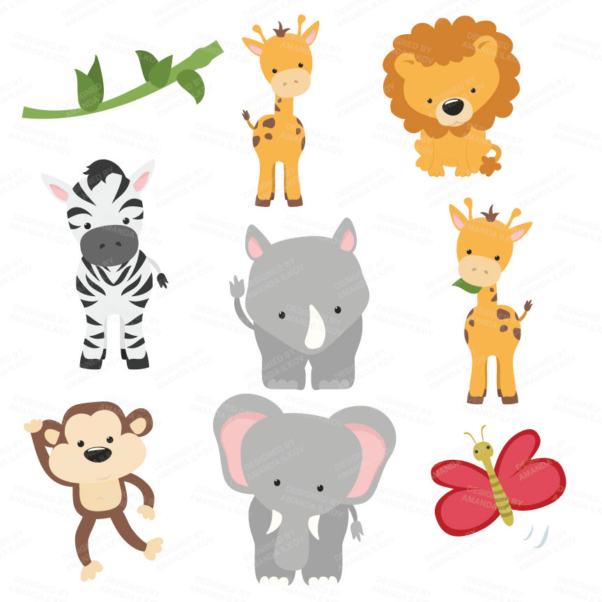 ... Safari Animals Clipart in Natural by Amanda Ilkov - Mandy Art Market - 2 ...