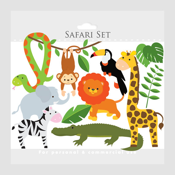 Safari clipart - safari animals, lion, monkey, giraffe, zebra, elephant, crocodile, leaves, jungle animals, jungle leaves, snake, toucan