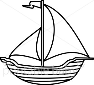 Black and White Boat Clipart