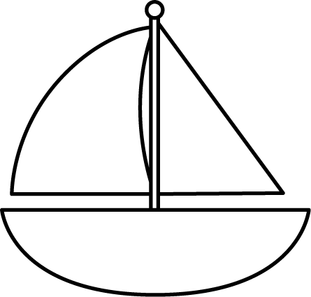 Black and White Sailboat - Sailboat Clipart Black And White