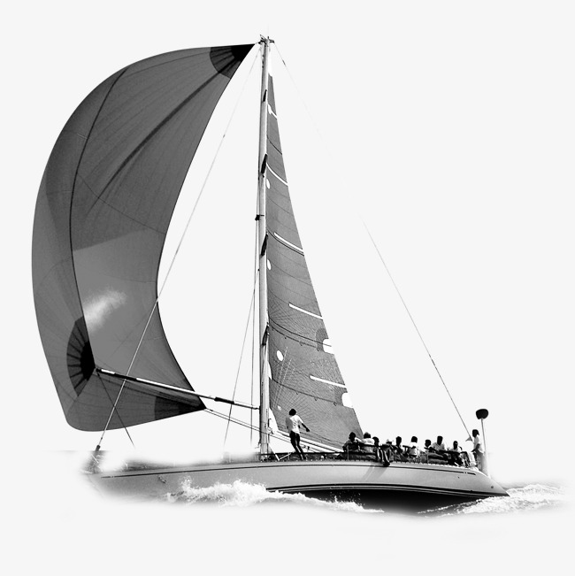 black and white sailboat, Sailboat Clipart, Sailboat, Windsurfing PNG and  PSD