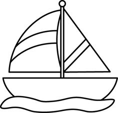 Black And White Striped Sailboat Clip Art - Black And White Striped Sailboat  Image