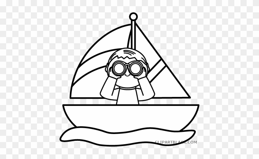 Boy In A Sailboat Transportation Free Black White Clipart - Boat Black And White  Clip Art
