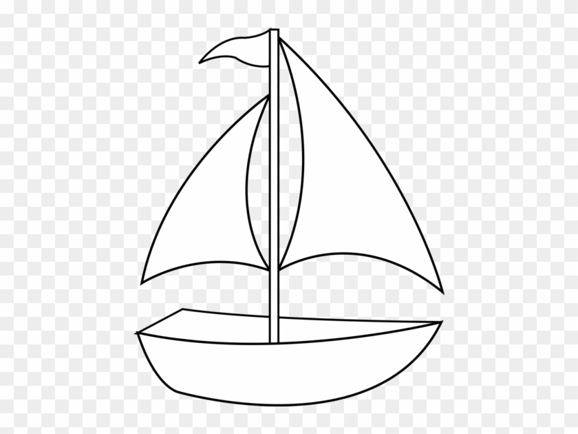 Colorable Sailboat Line Art - Boat Clipart Black And White