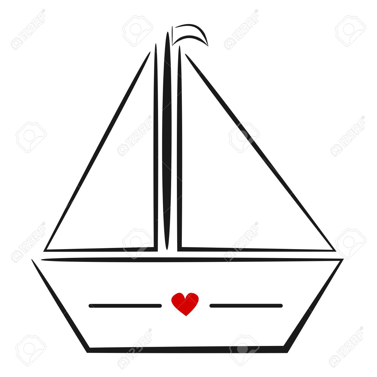 cute black white hand drawn linear boat with red heart logo vector  illustration Stock Vector -
