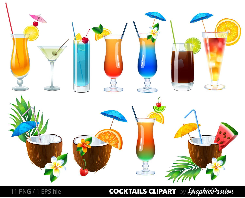 SALE Summer Cocktails Clipart Cocktail Clip Art Summer Clipart Drinks Clipart Cocktails Vector Digital Cocktails Summer Vector