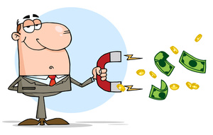 Salesman Clipart Image: Cartoon Salesman with Money Attracting Magnet