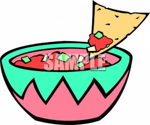Salsa With A Tortilla Chip Scooping Some Out Royalty Free Clipart