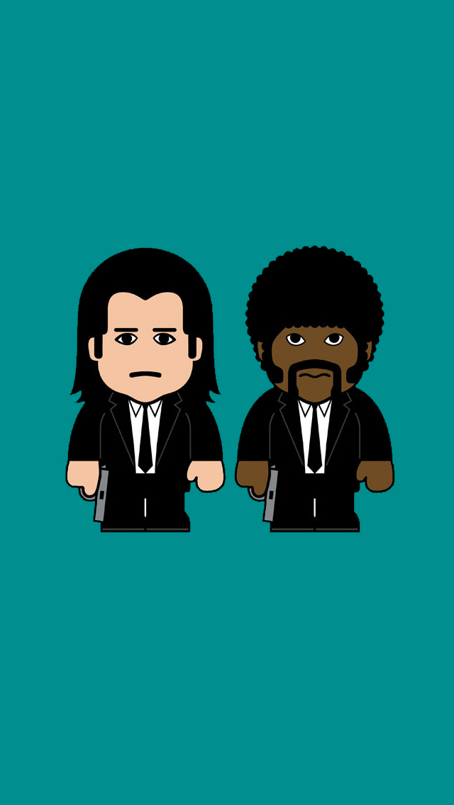 Pulp Fiction John Travolta Samuel L Jackson Caricature iPhone 5 Wallpaper  hdclipartall.com