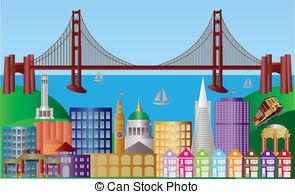 ... San Francisco City Skyline Panorama Illustration - San... San Francisco City Skyline Panorama Illustration Clip Art ...