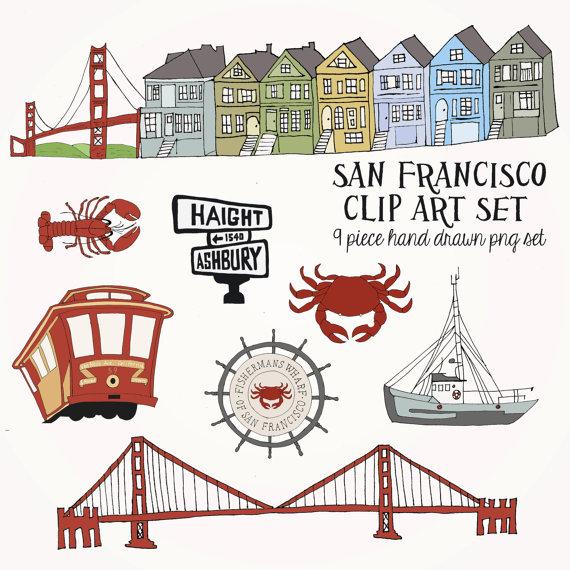 San Francisco Clip Art Set .