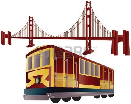 san francisco: San Francisco Cable Car Trolley and Golden Gate Bridge Illustration Illustration