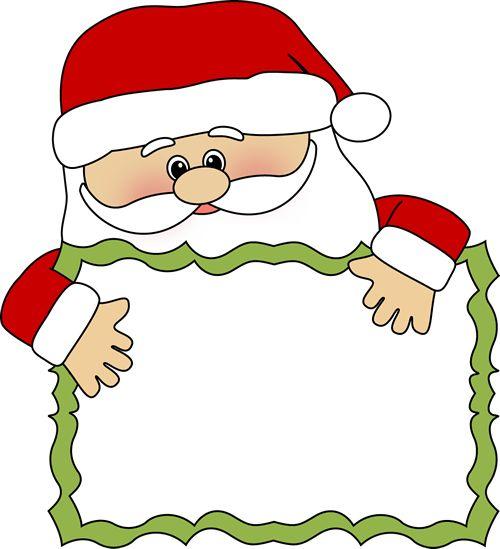 santa clip art   Santa Sign Clip Art - santa peeking over a blank sign.