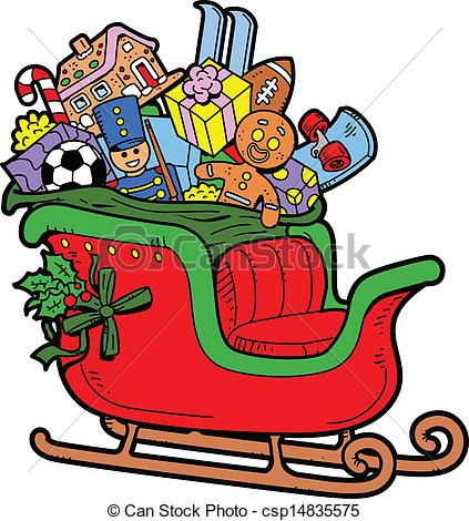 Santa`s sleigh Clip Artby xygo_bg26/654; Santau0026#39;s Sleigh Filled with Christmas Toys and Presents