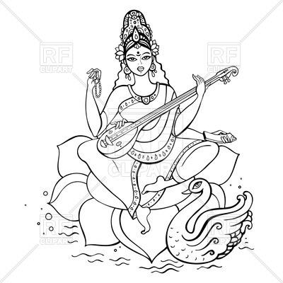 Hindu Goddess Saraswati, 51373, download royalty-free vector vector image  ClipartLook.com