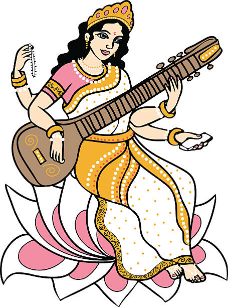 Hindu goddess Saraswati. vector art illustration