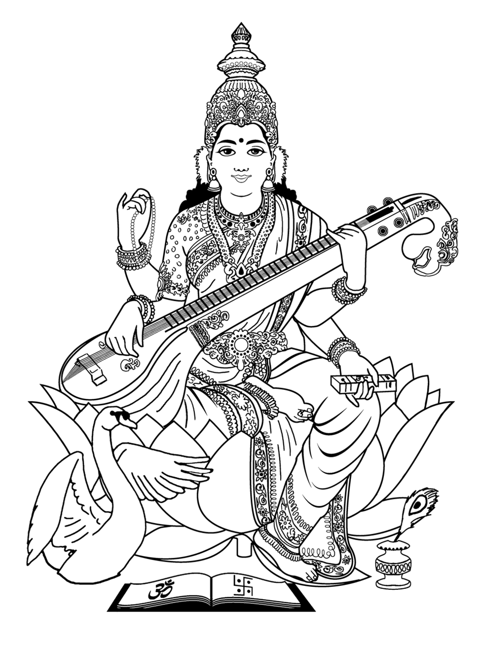 To print this free coloring page «coloring-adult-india-saraswati-3», click  on the printer icon at the right