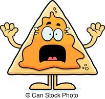 ... Scared Cartoon Nachos - A cartoon illustration of a nacho.