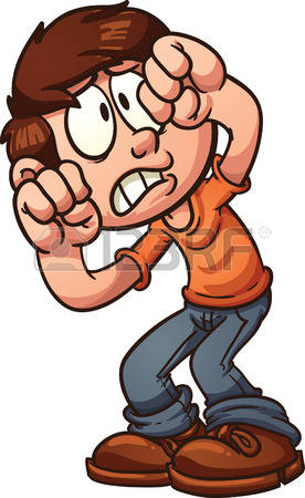 scared face: Scared cartoon boy protecting his face Vector clip art  illustration with simple gradients