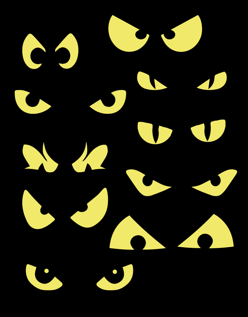 Scary Eyes Clip Art. Glowing Eyes For Bushes