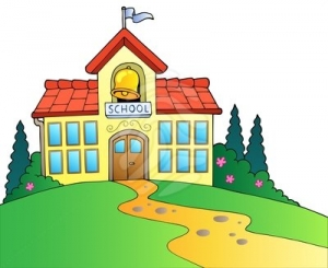 school building clipart black and white