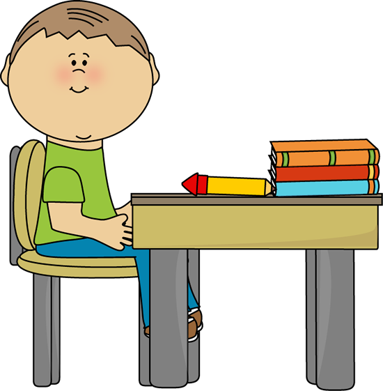 School Boy at School Desk