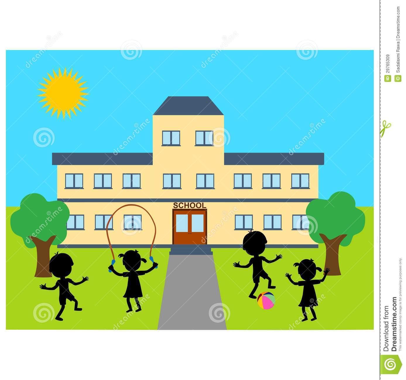 School Building Clipart Illustration School Building Children Playing
