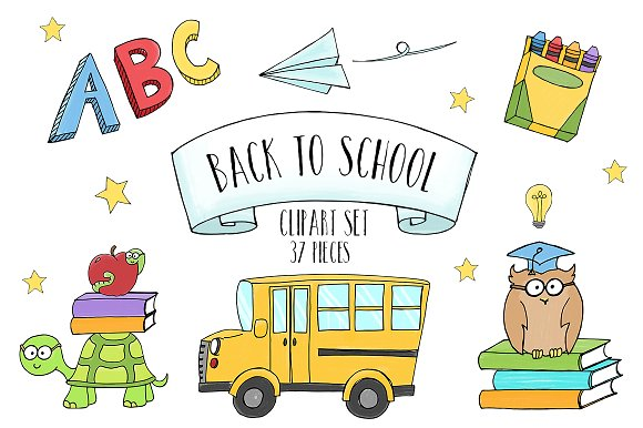 Back to School clipart set - Illustrations