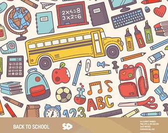 Back to school clipart, teacher clip art, classroom clipart, backpack books  school bus pencil illustration, vector printable. Commercial use