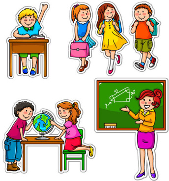 set of children in school design vector