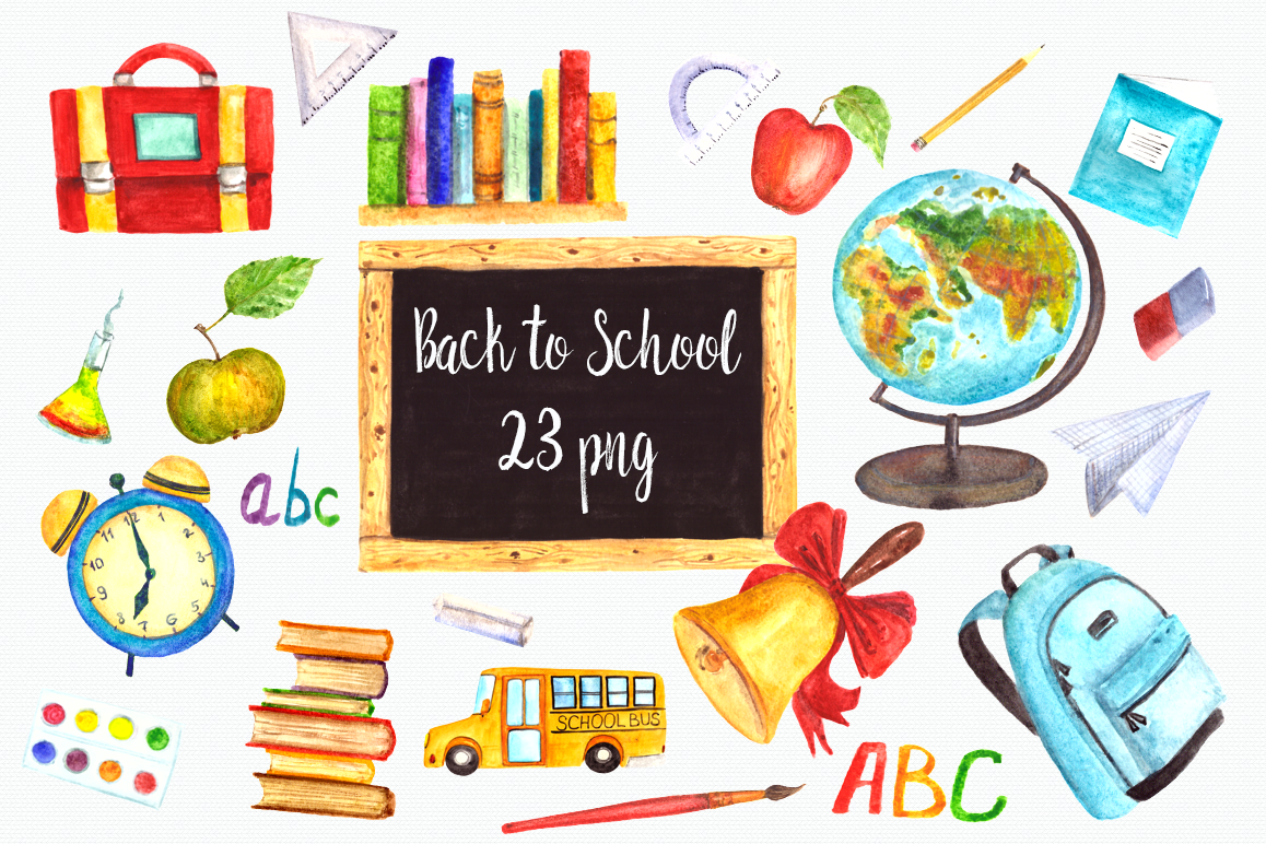 Watercolor Back to School Clip Art Set example image 1
