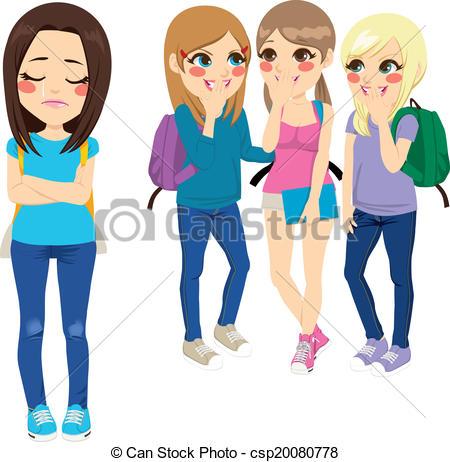 ... School Girls Bullying - Three school girls bullying poor sad.