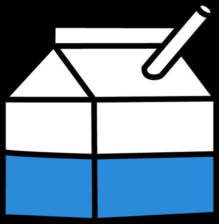 School Milk Clip Art Image - carton of school milk with a straw.