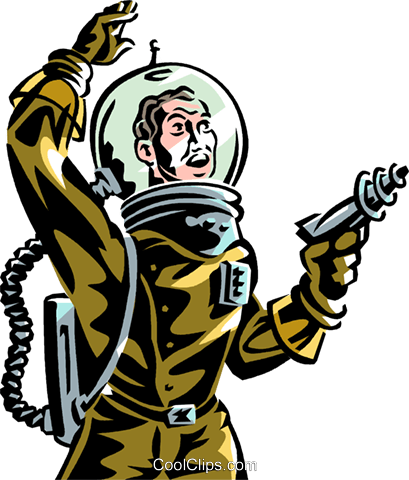 Astronaut with ray gun science fiction Royalty Free Vector Clip Art  illustration