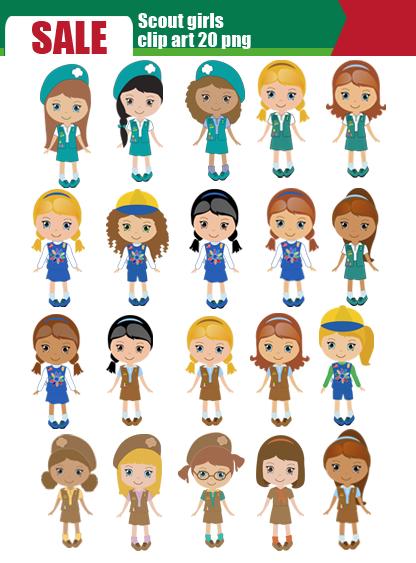 Scrapworld2010 Com Product Scout Girl Daisy Scout Clip Art Set 20 Png