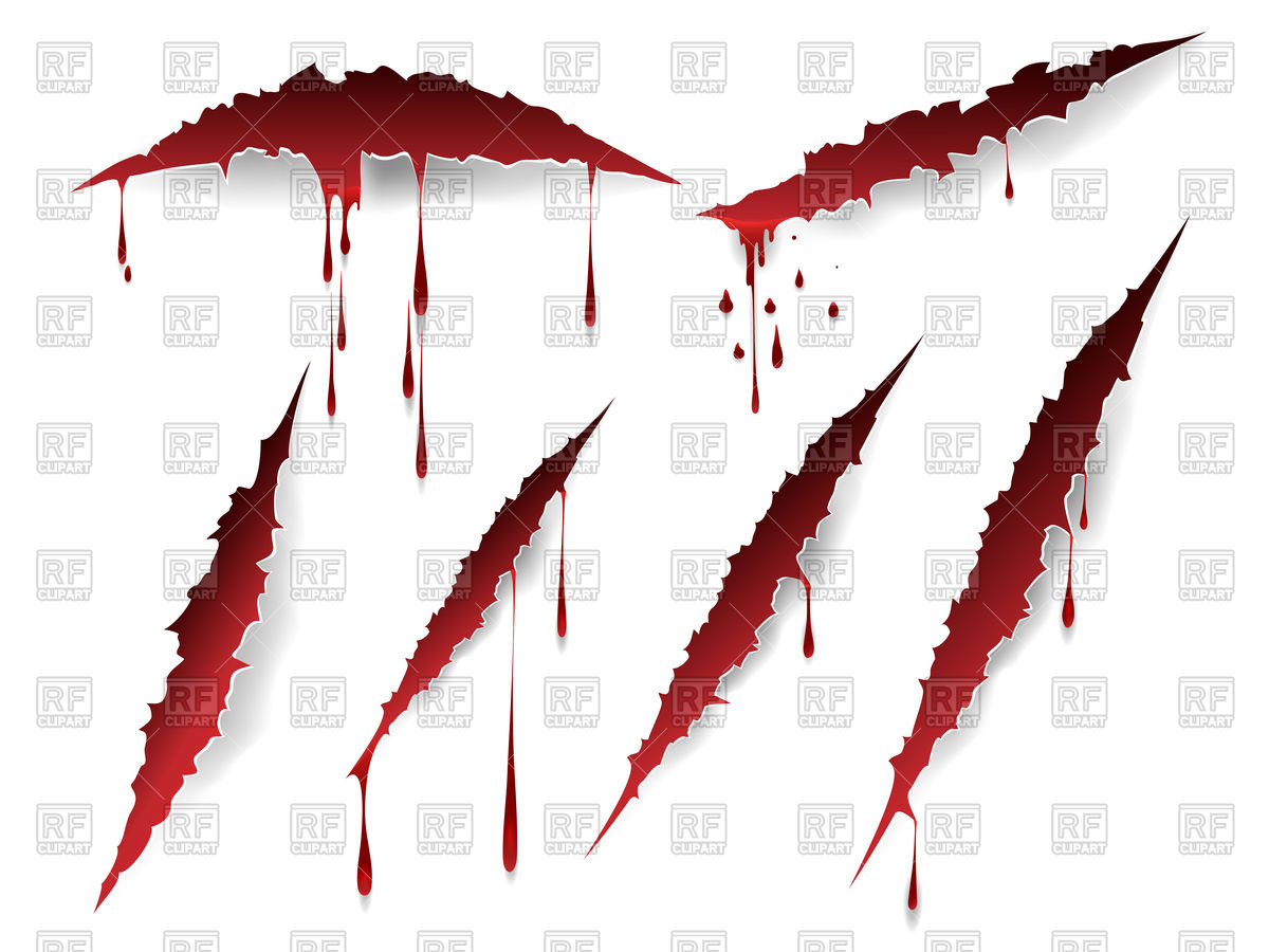 Bloody scratches and blood drops set on white background Royalty Free  Vector Clip Art
