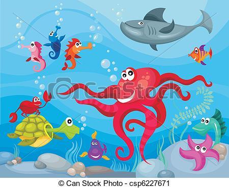 Sea life background Clipart Vectorby dagadu40/2,735; sea life - vector illustration of a sea life