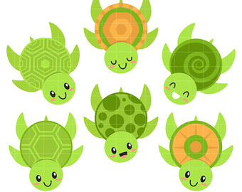 Cute Sea Turtles Digital Clip Art for Scrapbooking Card Making Cupcake  Toppers Paper Crafts
