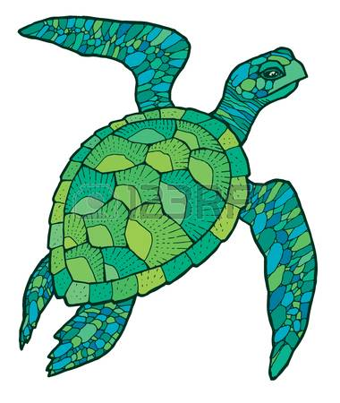 Green Sea Turtle - Colorful Vector Stylized Drawing