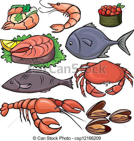... Seafood icons set