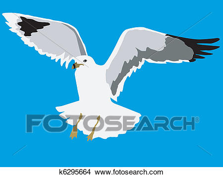 Clipart - flying seagull. Fotosearch - Search Clip Art, Illustration  Murals, Drawings and